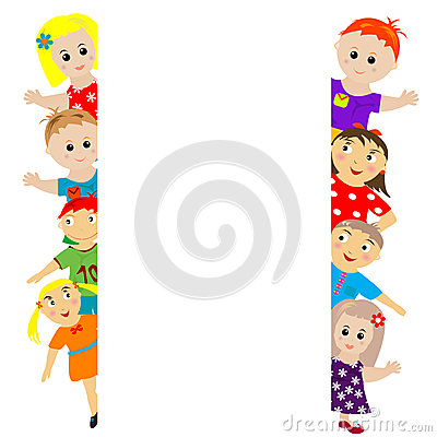 Banner with stylized kids around