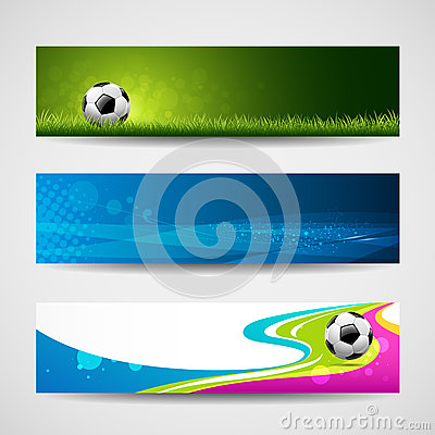 Banner headers soccer ball background