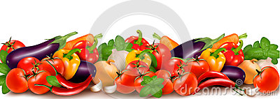 Banner made of fresh colorful vegetables