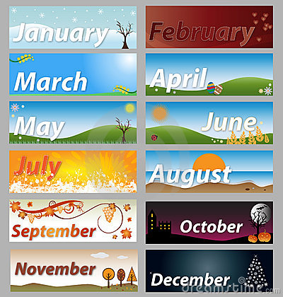Illustration of a banner set representative the months of the year ...