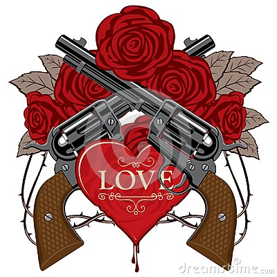 Free Banner On The Theme Of Love And Death With Pistols Stock Images - 114351954