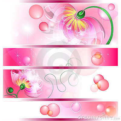 Banner with pink fairy flowers