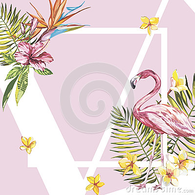 Free Banner, Poster With Flamingo, Palm Leaves, Jungle Leaf. Beautiful Vector Floral Tropical Summer Background. EPS 10 Stock Image - 99145681