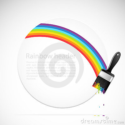 Banner with rainbow brush