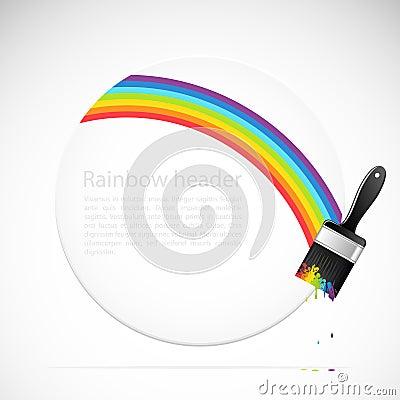 Banner with rainbow brush