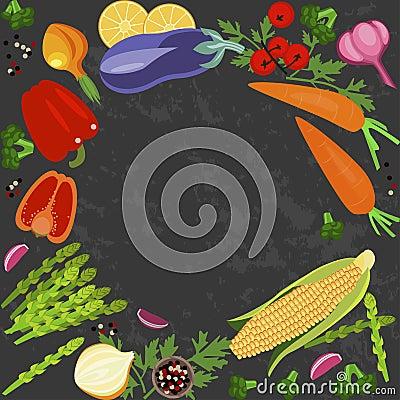 Banner of Raw food Vector Illustration