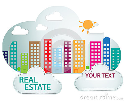 Banner with real estate in cloud shape
