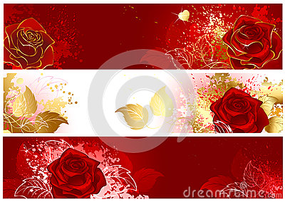 Banner with red roses