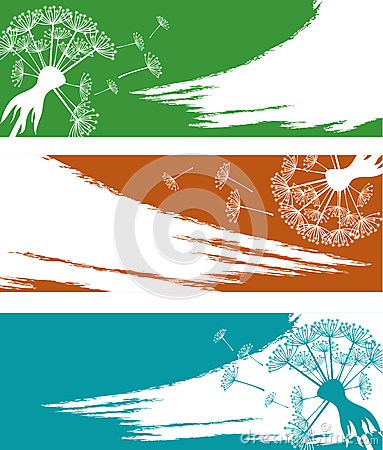 Banner set with dandelion