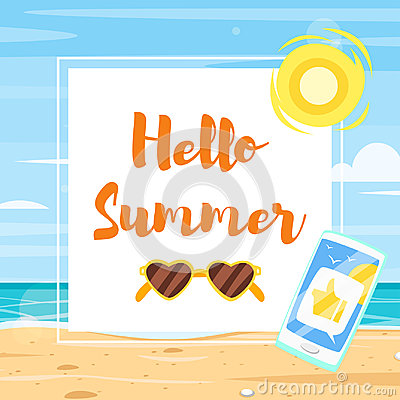 Banner template with colorful beach elements Vector Illustration