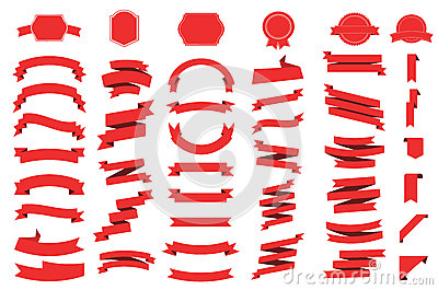 Banner vector icon set on white background. Ribbon isolated shapes illustration of gift and accessory Vector Illustration