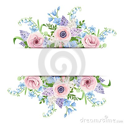 Free Banner With Pink, Blue And Purple Flowers. Vector Illustration. Royalty Free Stock Photography - 110798667