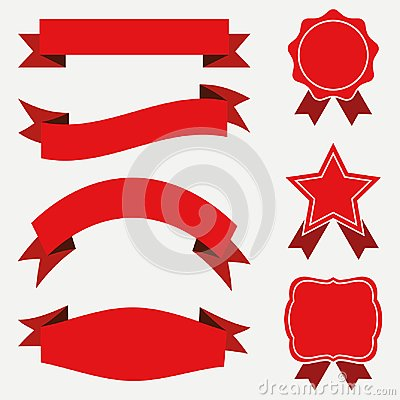 Free Banners And Ribbons, Labels Set. Red Stickers On White Background.   Stock Photo - 105590010