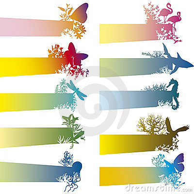 Banners with animal silhouette