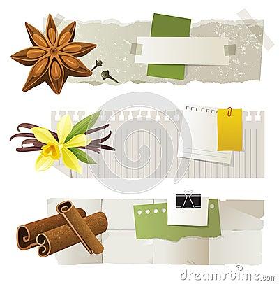 Banners with anise, vanilla, cinnamon