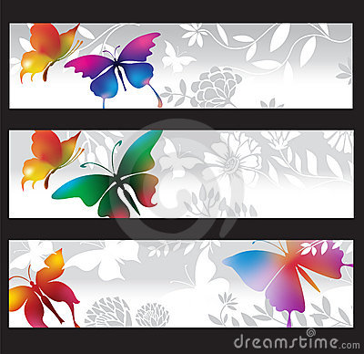 Banners with colorful butterflies