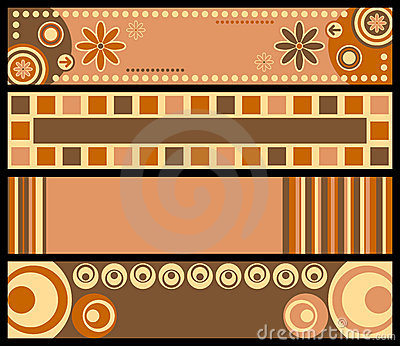 Banners colors retro warm