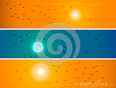 Banners of flying birds against orange sunset and moon.