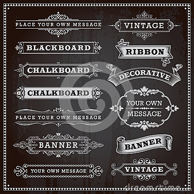 Free Banners, Frames And Ribbons, Chalkboard Style Stock Images - 40267954