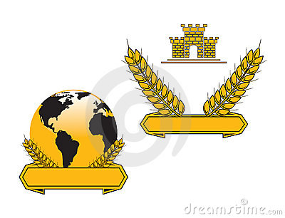 Banners with globe and wheat grains