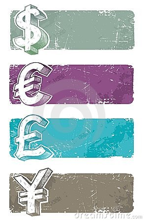 Banners with hand drawn currency signs