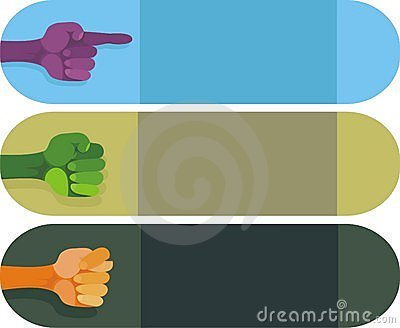 Banners with hands of different gestures in vector