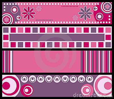 Banners pink retro