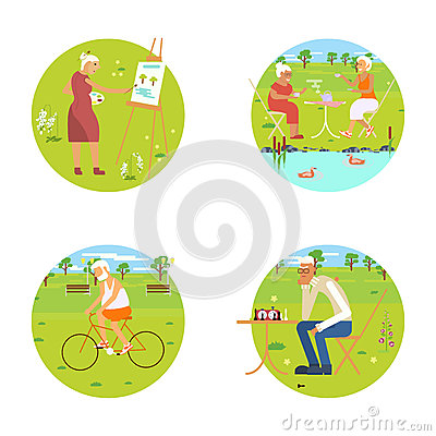 Banners of Retired elderly Vector Illustration