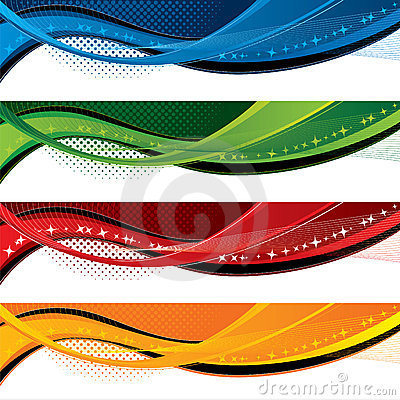 Free Banners With Colorful Waves And Halftone Effects Stock Photos - 8372373