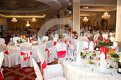 Banquet hall elegant round party table setting could be wedding