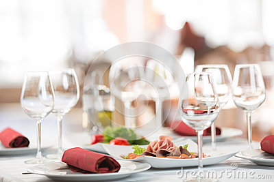 Banquet setting table in restaurant