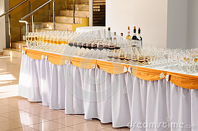 Banquet table with alcohol drinks