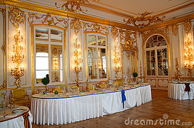 Banquet table in dining-hall Editorial Stock Image