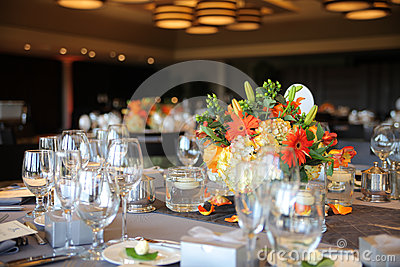 Banquet Table and Flowers