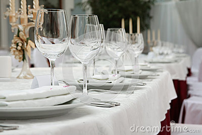 Banquet table in a restaurant