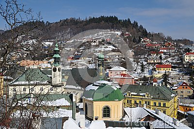 Banska Stiavnica historical mining town in winter