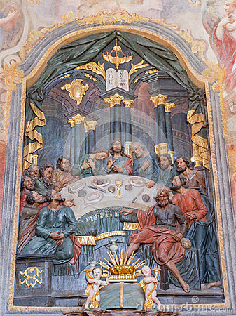 Free Banska Stiavnica - The Carved Polychrome Relief Of Last Supper And Altar In Lower Calvary Church From 18. Cent. By Unknown Artist. Stock Images - 59634864