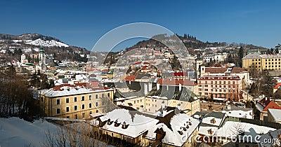 Banska Stiavnica in winter, panorama Slovakia