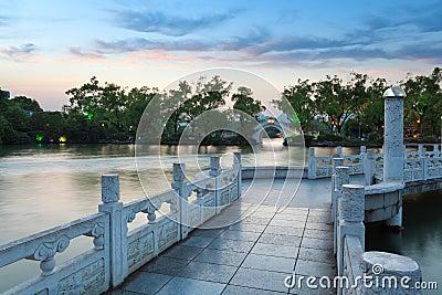 Banyan lake at dusk