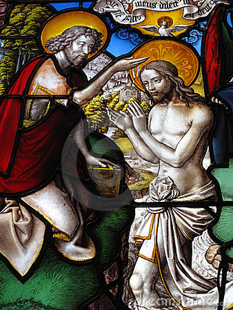 Baptism of Christ medieval stained glass window