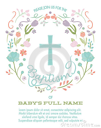 Free Baptism, Christening, First Holy Communion Invitation Template With Cross And Floral Border Royalty Free Stock Image - 70791746