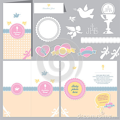 baptism invitation christening card vector illustration