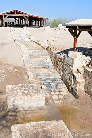 Baptism site in old historical Jordan riverbed