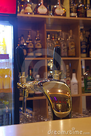 Bar with beer tap