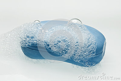 Bar of Blue Soap with Bubbles
