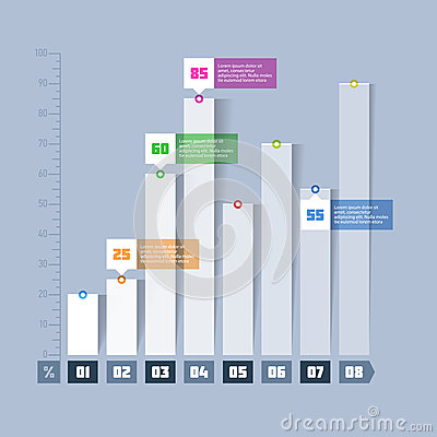 Bar chart, graph infographics element