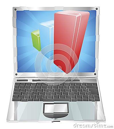Bar chart graph laptop concept