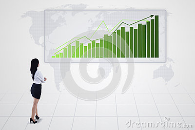 Bar chart with increasing trend and businesswoman -
