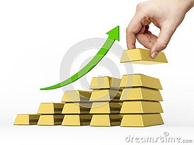 Bar chart made of  golden bars