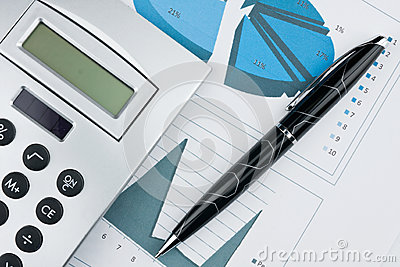 Bar chart with pen and calculator